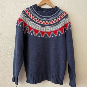 Nordic Sweater - Blue Red White - Wool -XL